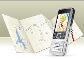 Handy auf einer Landkarte